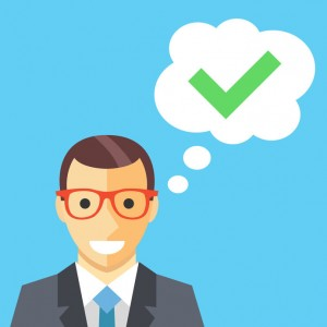 52338983 - happy man and thought bubble with checkmark flat illustration